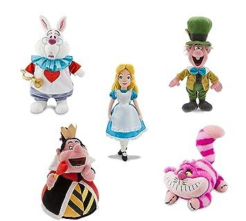 Disney Store Alice In Wonderland Plush Doll Set White Rabbit Queen Of