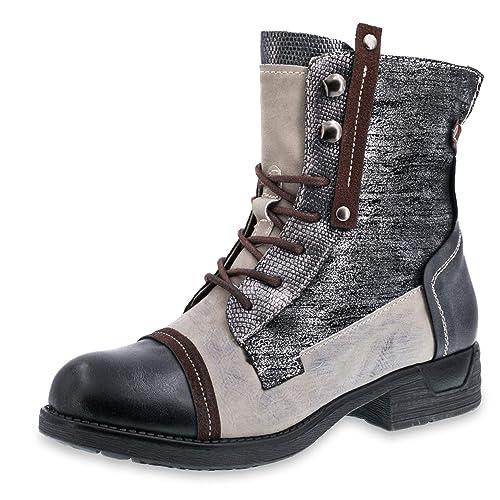 36cd8f0589ba74 Marimo Damen Schnür Stiefel Stiefeletten Metallic Worker Boots in Lederoptik  gefüttert Braun 36