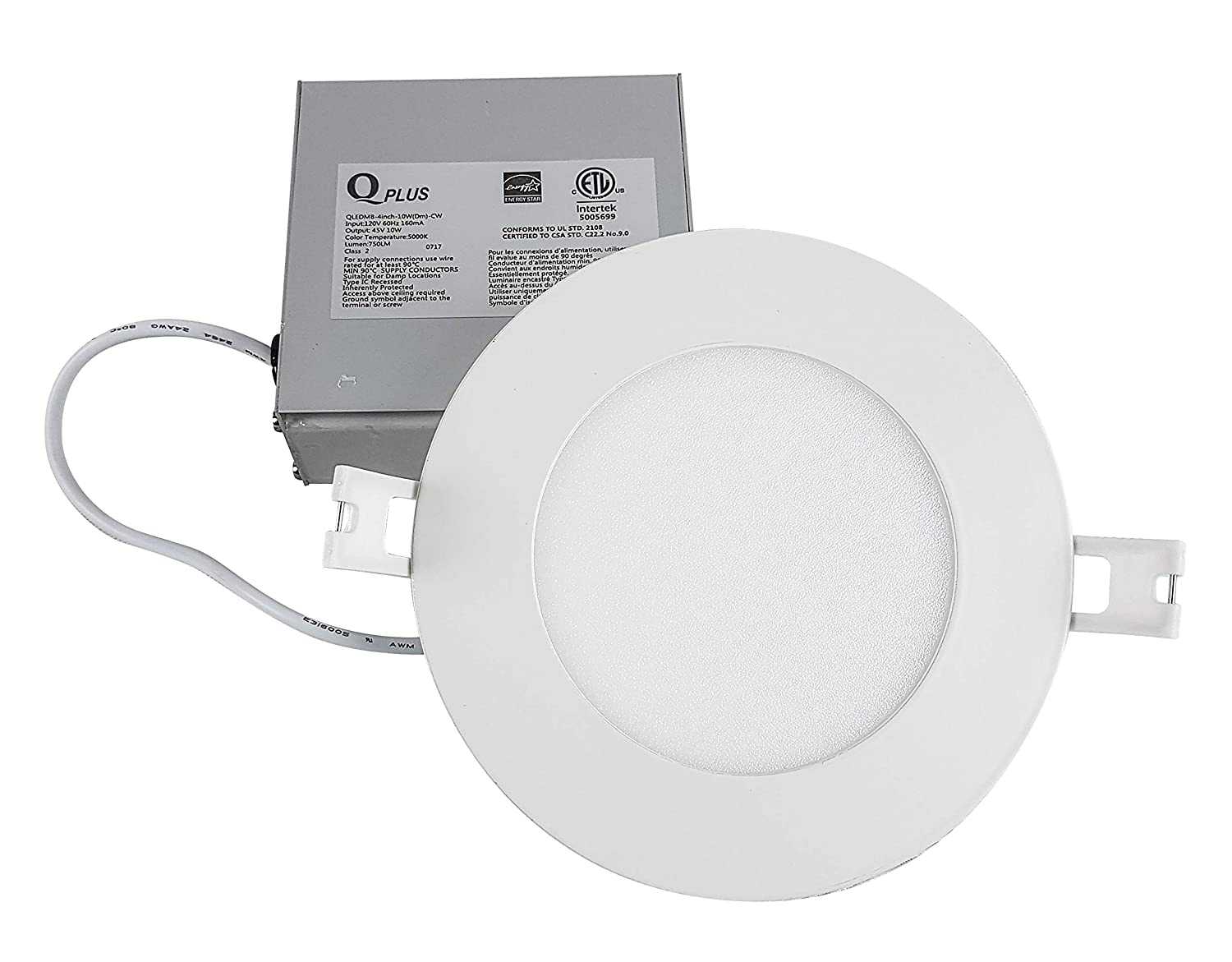 LED Slim Panel Recessed Down Light, 4 inch, 6500K, (Daylight), 10 Watts, 750 Lumens, 50,000 Hours, Dimmable, cETLus & Energy Star Rated, IC Rated for Insulation Contact QPlus