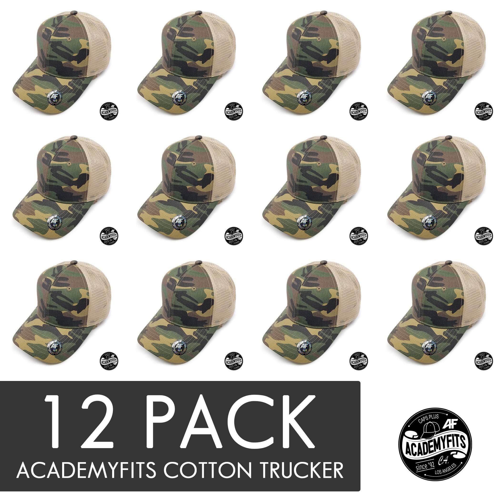 AcademyFits Quality 6 Panel Cotton Trucker Mesh Snapback Curve Visor Men Women Unisex Wholesale 12 Pack Lot (Camo/Khaki (12))