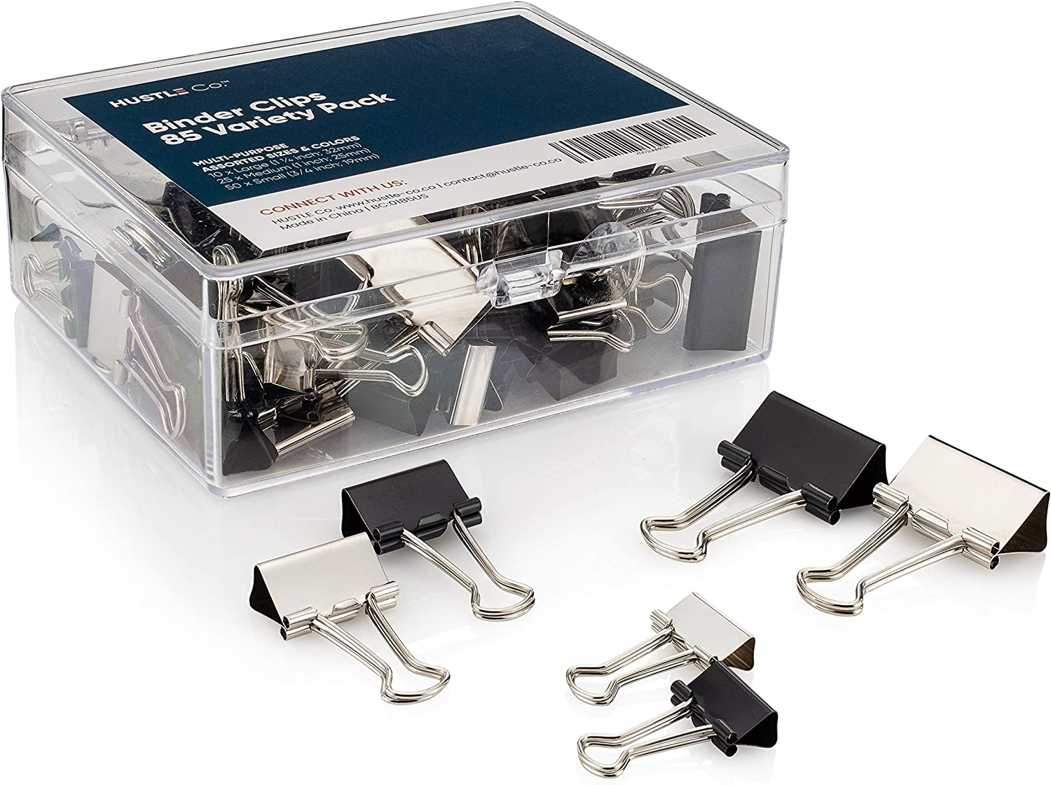 Binder Clips Assorted Sizes by HUSTLE Co | 85 Bulk Pack in Small, Medium and Large Size Metal Paper Clamps | Mixed Black and Silver Colored Bulldog Clips | Premium Office Supplies