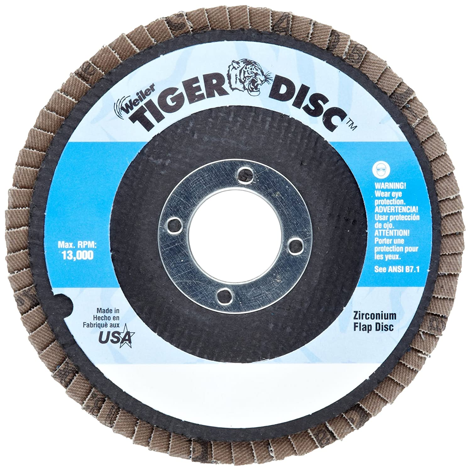 4-1//2 Dia Threaded Hole Composite Backing Pack of 1 4-1//2 Dia. Zirconia Alumina Type 29 Weiler Corporation 50006 Weiler Trimmable Tiger Abrasive Flap Disc 40 Grit