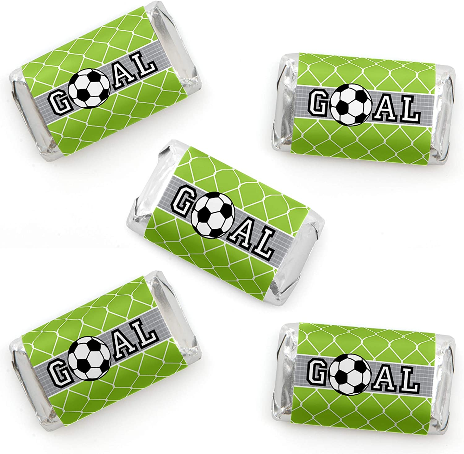 Big Dot of Happiness GOAAAL! Soccer 24 Count Baby Shower or Birthday Party Circle Sticker Labels
