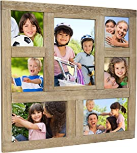 Excello Global Products Rustic Distressed Wood Collage Picture Frames: Holds 7 Multiple Size Photos - EGP-HD-0013