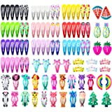 Hair Clips for Girls, Funtopia 100 Pcs No Slip Metal Snap Hair Clips Barrettes for Kids Teens Women, Cute Candy Color…