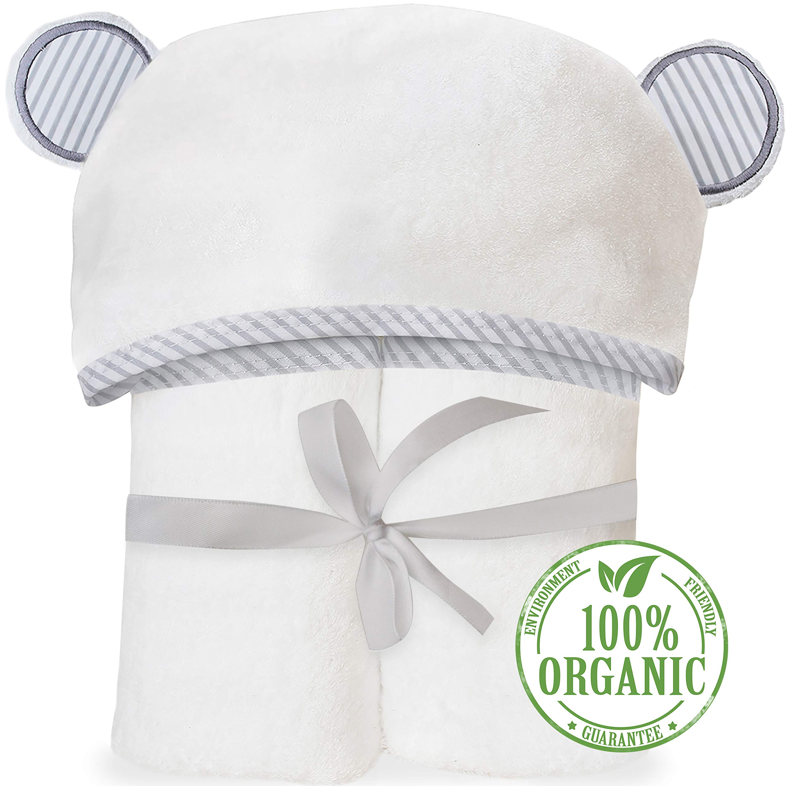 Organic Bamboo Hooded Baby Towel - Soft, Hooded Bath Towels with Ears for Babies, Toddlers - Large Baby Towel Perfect Baby Shower Gift for Boys and Girls by San Francisco Baby by San Francisco Baby