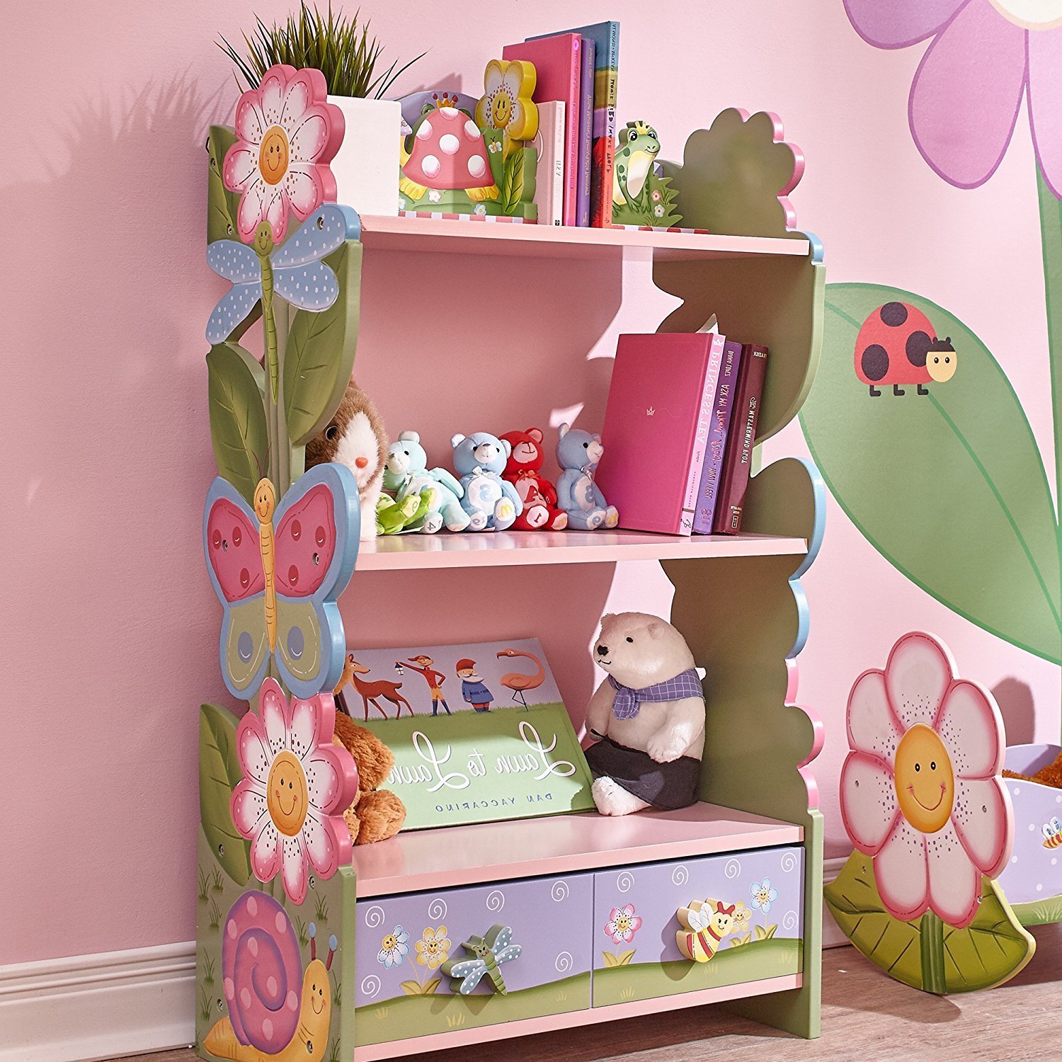 Fantasy Fields - Magic Garden themed Pink Book Case Kids Wooden Bookcase with Storage Drawer| Hand Crafted & Hand Painted Bookshelf | Child Friendly Water-based Paint Fantasy Fields By Teamson W-7500A