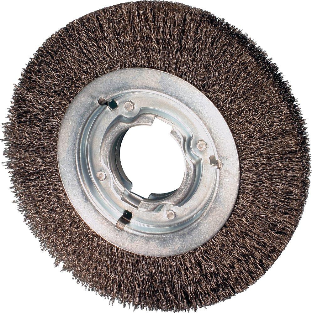 PFERD 81116 Power Crimped Wire Wheel Brush, Medium Face, Round Hole, Carbon Steel Bristles, 6'' Diameter, 0.014'' Wire Size, 2'' Arbor, 6000 Maximum RPM