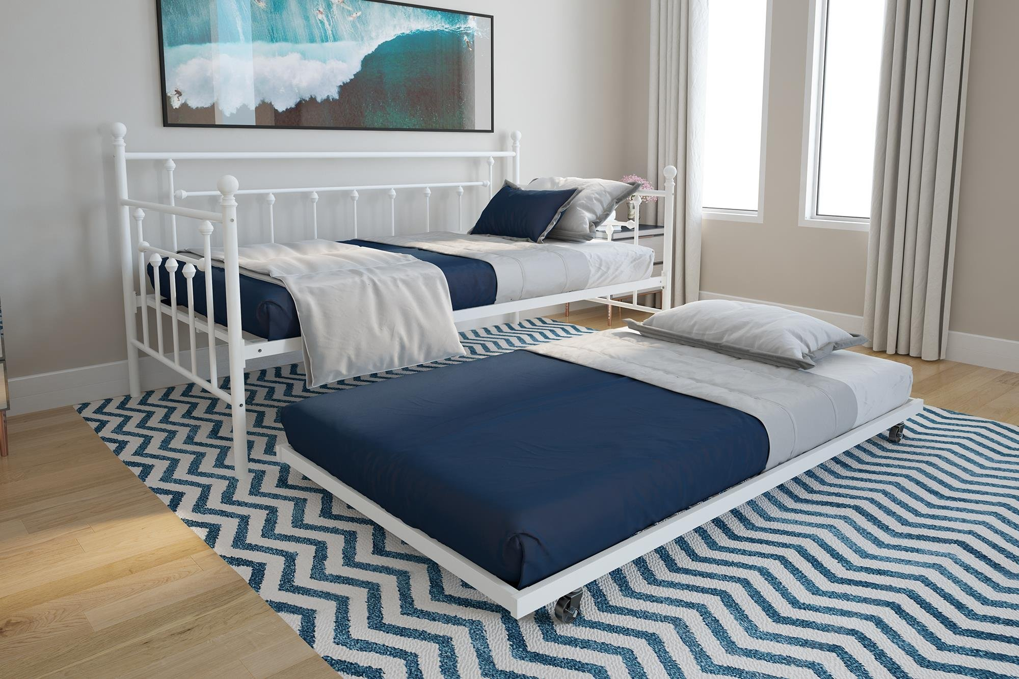 DHP Manila Twin Metal Daybed Frame and Twin Size Trundle, White by DHP