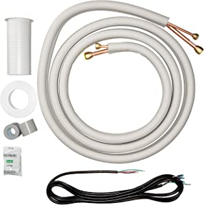 "Senville 16 Ft. Insulated Copper Line Set for Mini Split Air Conditioner, 3/8"" & 5/8"" OD, White"