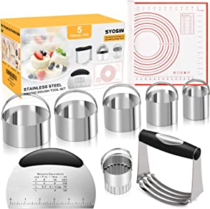 SYOSIN Pastry Cutter Set,5 Pack of Pastry Cutter,Biscuit Cutters set,Dough Scraper and Silicone Baking Mat,Stainless Steel Dough Cutter Scraper Blender Set for cooking cookies and donuts