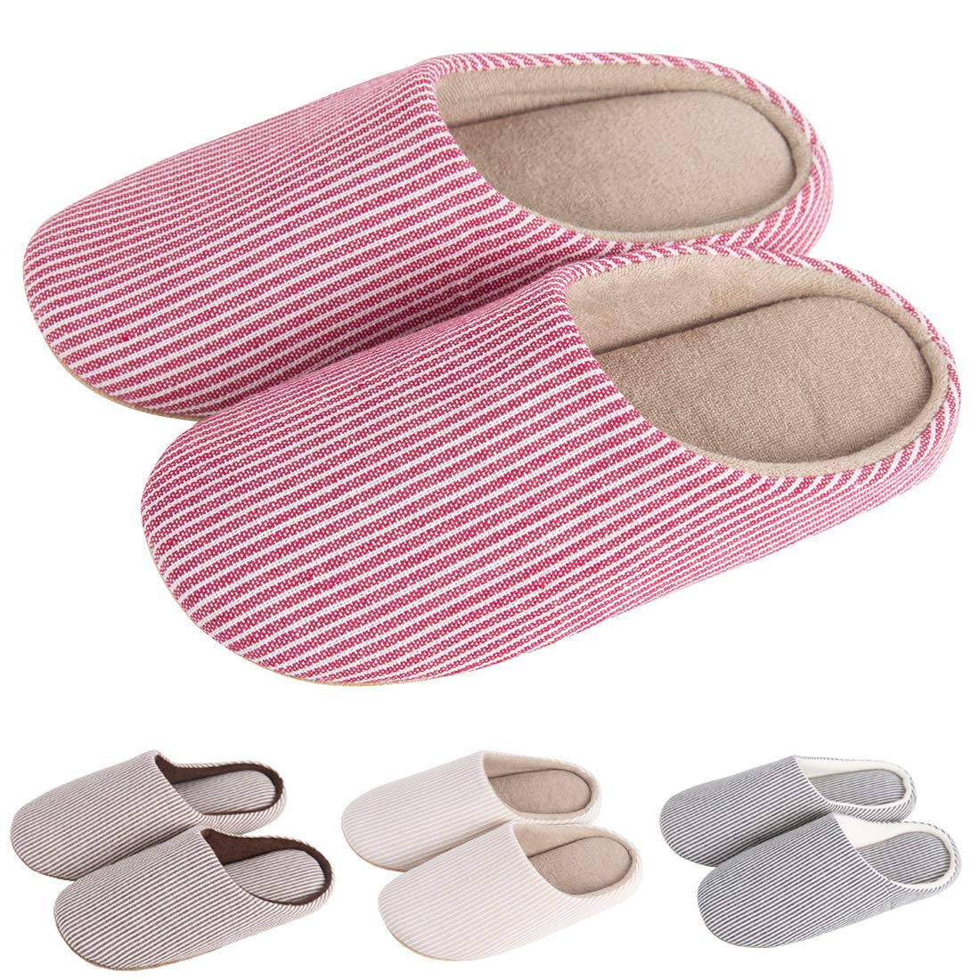 KRIMUS Indoor Slippers |Striped Slippers| Slippers for Women|Slippers for Men|Couple Slippers(Pink-S)