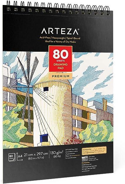 Arteza Cuaderno de dibujo A4, 80 hojas de 130 gramos sin ácido, encuadernado en doble espiral, bloc para medios secos, ideal para lápiz, carbón, cera o bolígrafo, para niños y adultos: Amazon.es: