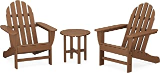 product image for POLYWOOD PWS417-1-TE Classic 3-Piece Chair Side Table Adirondack Seating Set, Teak