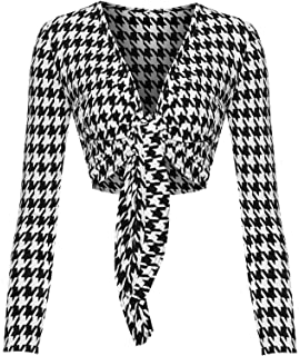 44dde166b2 WearAll Womens Tied Front Crop Top Leopard Tartan Long Sleeve Shrug Ladies  Multi Print