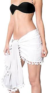 OMSLIFE 2018 Femme Été Sexy Mousseline De Soie Wrap Bikini Maillot De Bain à Encolure Couvre La Jupe De Plage Paréo Shorts De Bordure Cover Up (2, Longueur 140CM largeur 50cm)