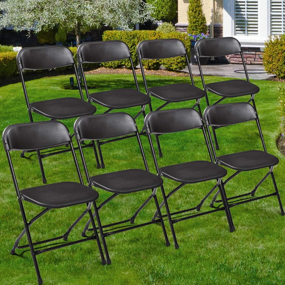 Amazon.com: lazymoon negro silla plegable de plástico PATIO ...