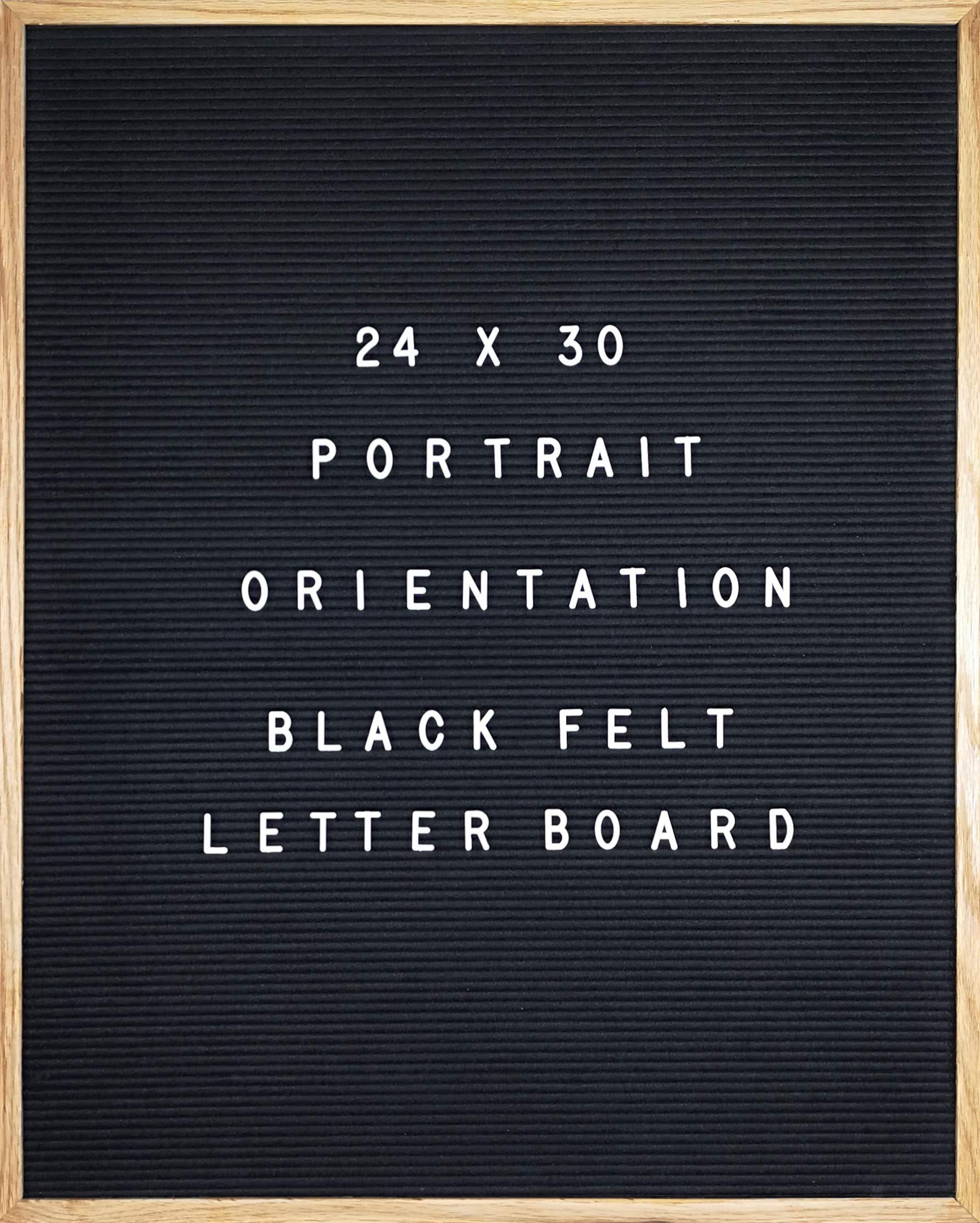 """Black Felt Letter Board 24 X 30 Portrait Orientation with 692-Piece Set of 1"""" and 3/4"""" Letters, Symbols & Emojis, 36 Slot Set Organizer, Cutters, 2 Letter Pouches"""