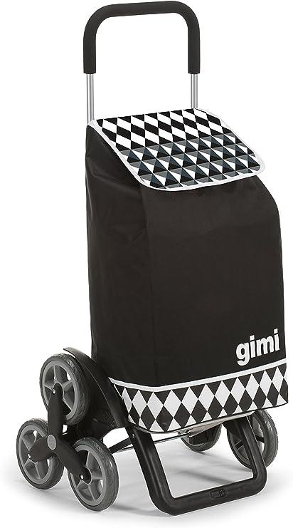Oferta amazon: Gimi Tris Floral - Carro de la compra, con 6 ruedas, bolsa impermeable de poliéster, capacidad de 56 litros, negro, 41 x 51 x 102 cm