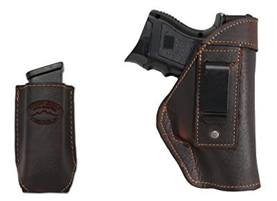 New Barsony Brown Leather IWB Holster + Magazine Pouch for Compact, Sub-Compact 9mm 40 45