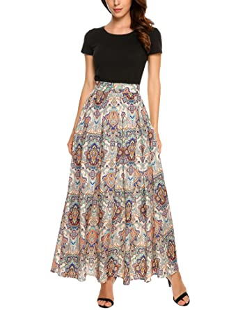 ee5cc1b81ab37 Zeagoo Women's Boho Floral Print High Waist Summer Beach Party Maxi Skirt