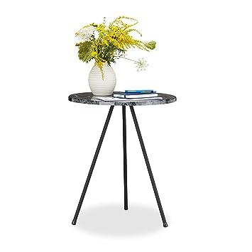 Relaxdays Beistelltisch Marmor Optik Rundes Tischchen Hxbxt 47 X