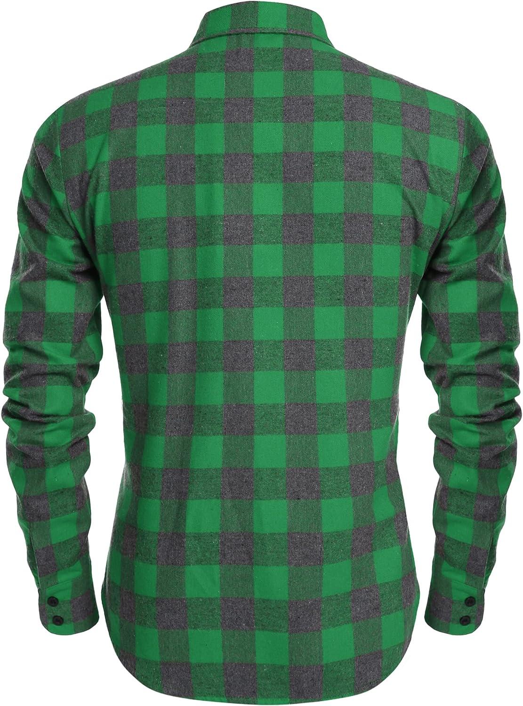 Coofandy Camisa Hombre Manga Larga a Cuadros Multicolores Botón Bolsillo Casual: Amazon.es: Ropa y accesorios