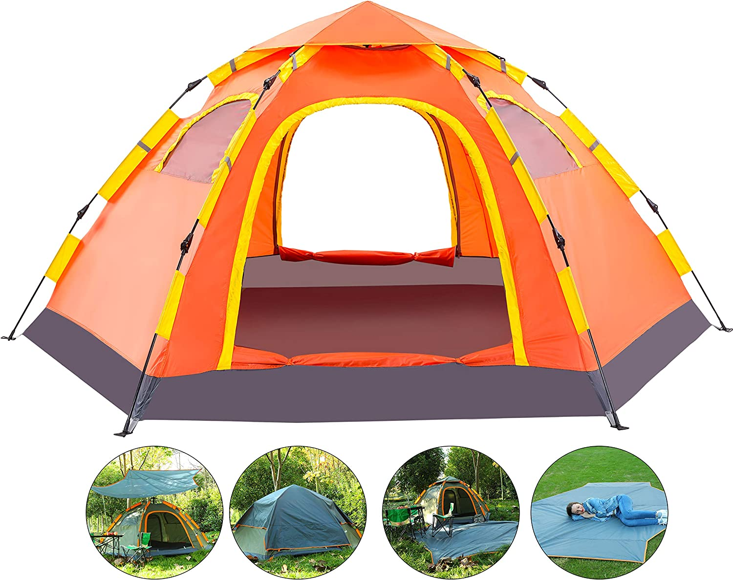 Pop up Camping Tent Instant Automatic Water Resistant Two Way Zippers Orange Set