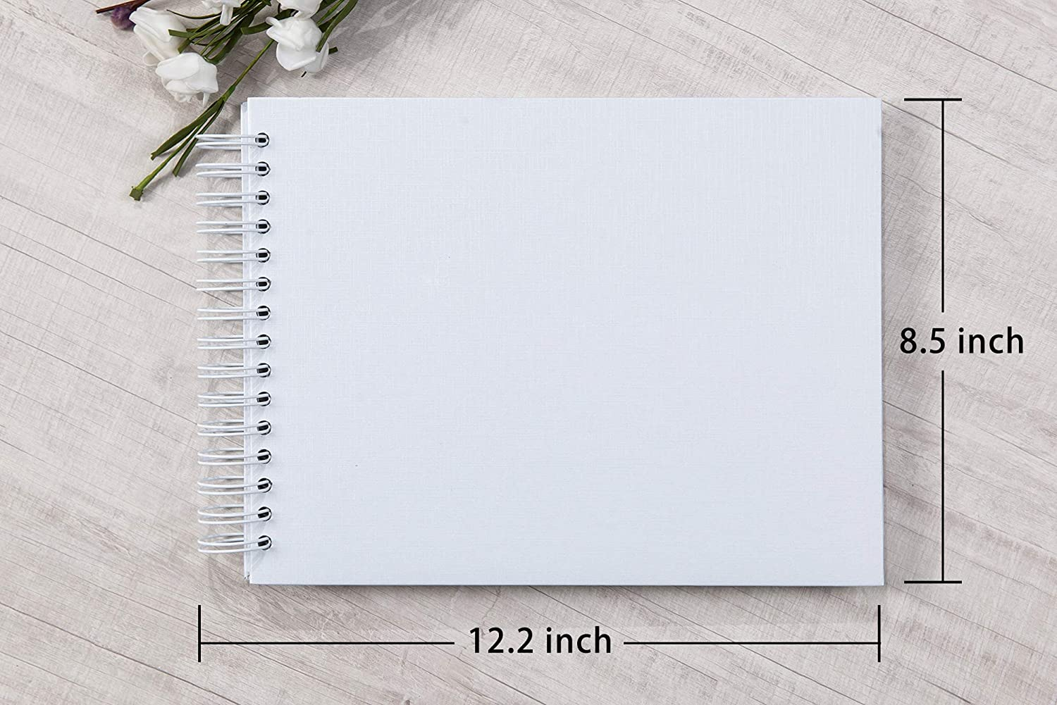 12.2 x 8.5 Inch Hardcover Kraft Blank Brown Page DIY Scrapbook Photo Album Brown 40 Sheets 80 Pages Wedding Anniversary Family Small Scrapbook Photo Album