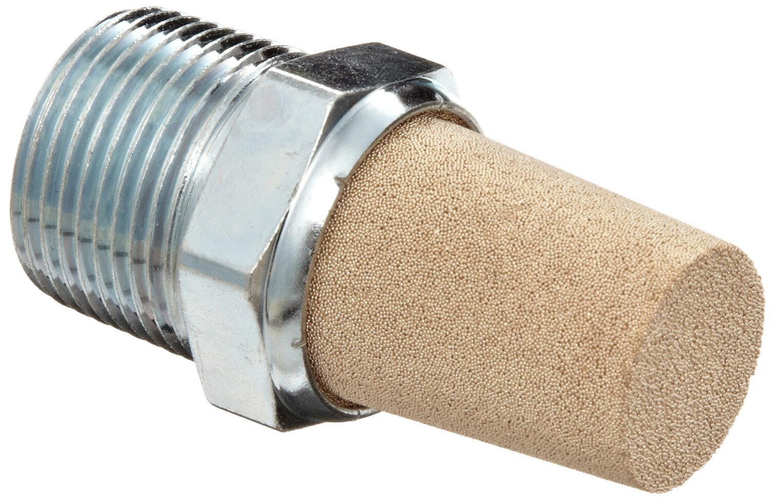 Parker EM75 EM Series Sintered Bronze Muffler/Filter, 3/4'' NPT Male, 1-1/6'' Hex Size, 250 psi