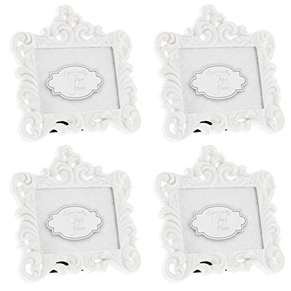 e253a73d92f Amazon.com  Fashioncraft Set of 4 Baroque Style White Resin Frames - Holds  2.75