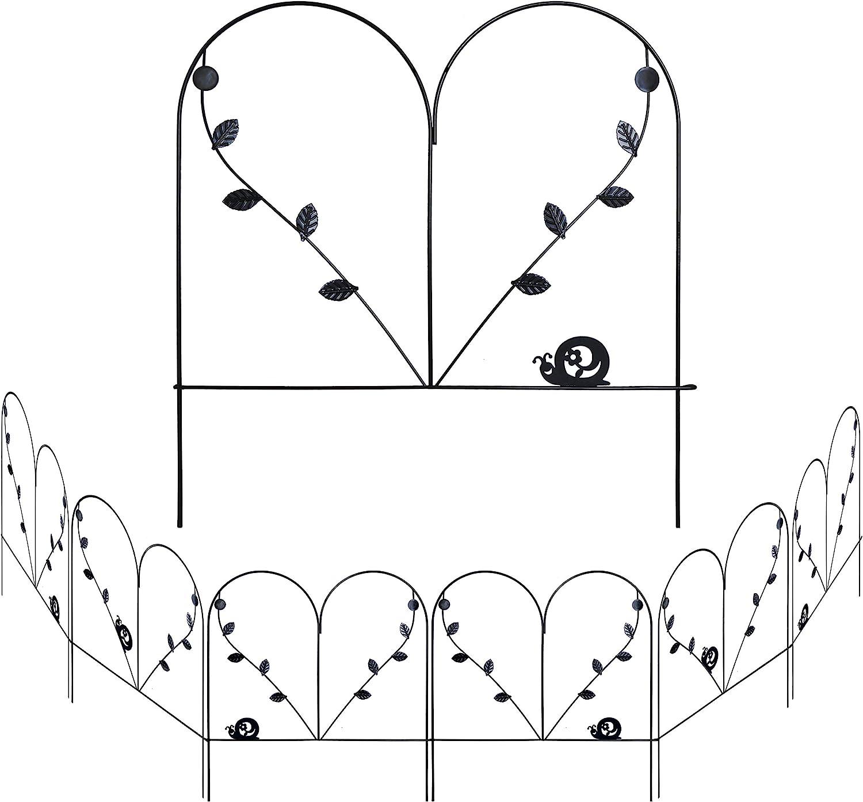 BRAVE SNAIL 24in x 12ft Decorative Garden Fence 6 Piece Metal Garden Border Dogs Barrier Animal Fencing Rustproof Edging Flower Bed Landscape Iron Wire Outdoor Patio