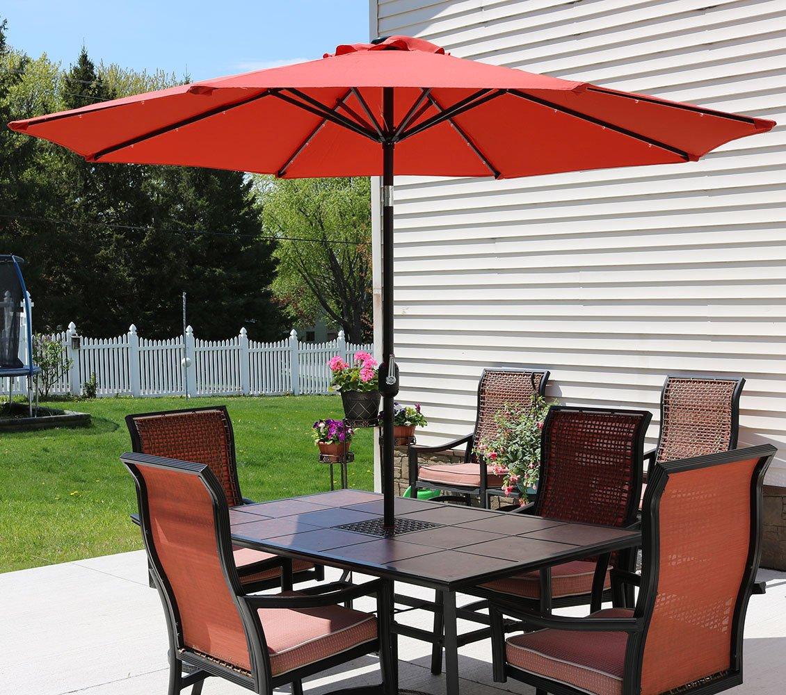Amazon.com : Sunnydaze 9 Foot Solar Powered LED Aluminum Patio Umbrella  With Tilt U0026 Crank, Burnt Orange : Garden U0026 Outdoor