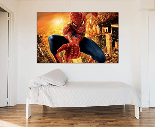 Cuadro Lienzo Spiderman - Lienzo de Tela Bastidor de Madera de 3 cm - Fabricado en España - Impresión en Alta resolución – 50x80: Amazon.es: Hogar