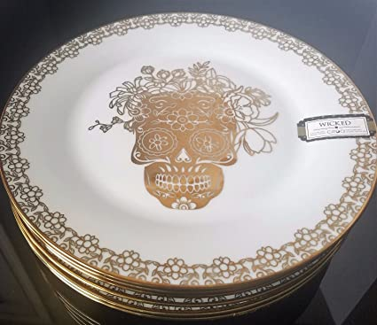 ciroa wicked gold halloween salad plate set of 6