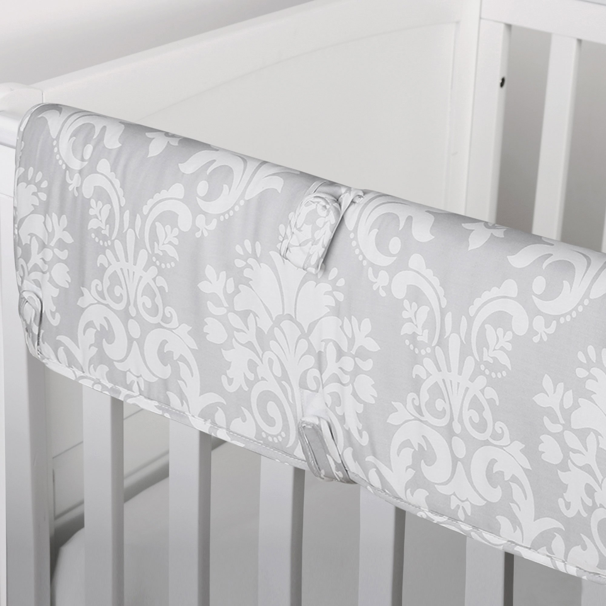 Grey Damask Print 100% Cotton Padded Crib Rail Guard by The Peanut Shell by The Peanut Shell