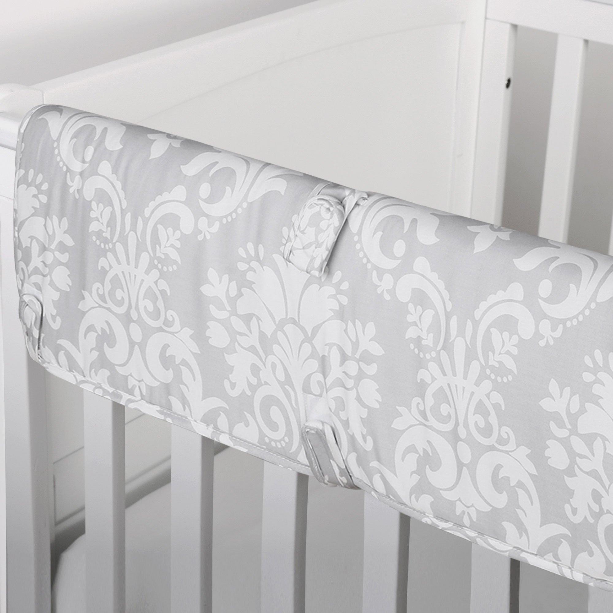 Grey Damask Print 100% Cotton Padded Crib Rail Guard by The Peanut Shell