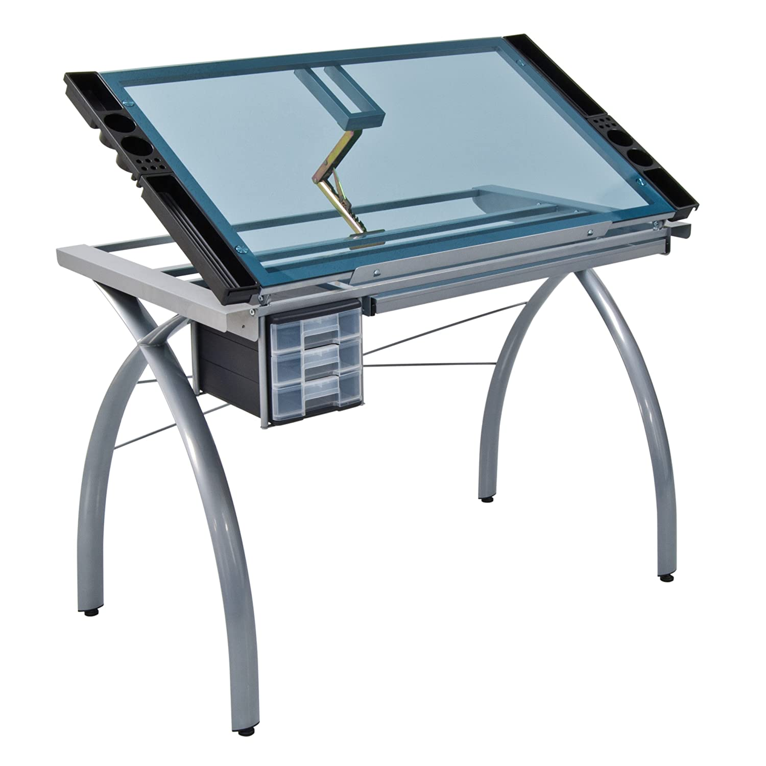 Modern drafting table - Amazon Com Studio Designs 10050 Futura Craft Station Silver Blue Glass Arts Crafts Sewing