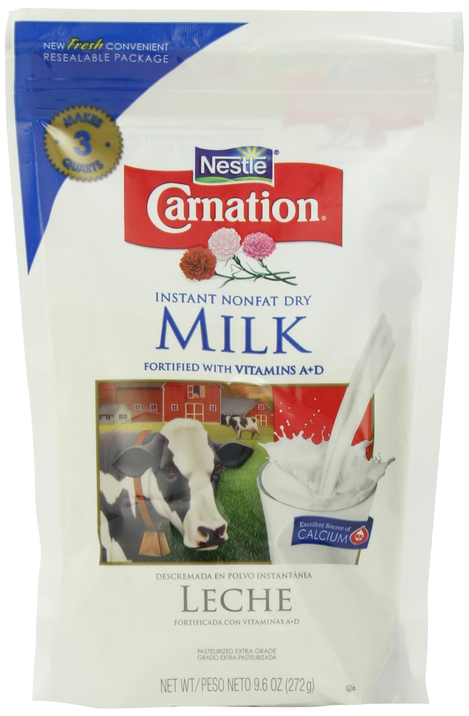 Nestle Carnation Instant Nonfat Dry Milk, 9.6-Ounce Pouch, (Pack of 4)
