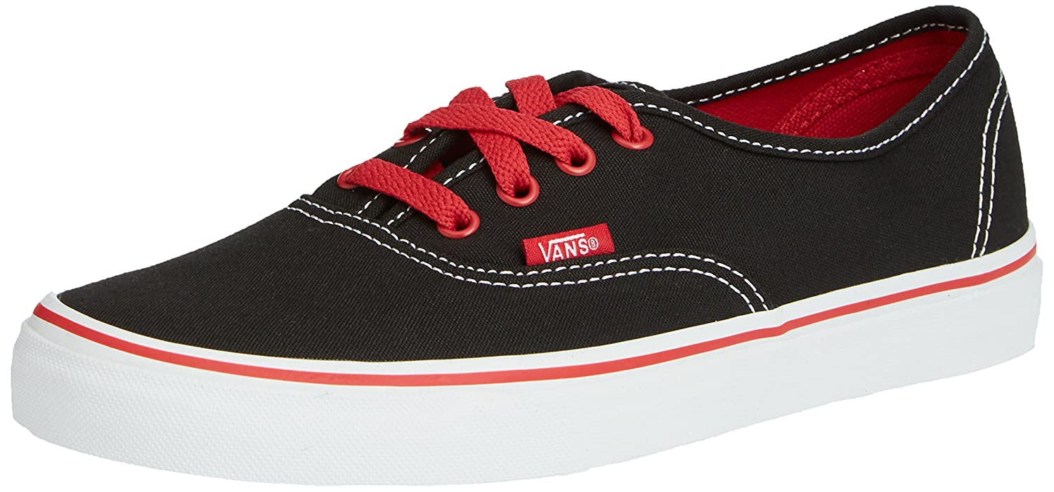 Vans Authentic (Canvas) Sneakers for Unisex Kids in Classic Colors, Stylish Prints and Fashionable Designs B00RC8U8L4 13 Little Kid M|Pop Black Red