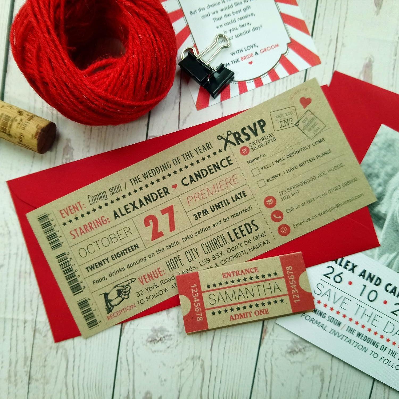 Rustic Movie Ticket Wedding Invitation Vintage Retro Cinema Style ...