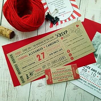 Amazon.de: Rustikal Film Ticket Einladung Hochzeit Vintage Retro ...
