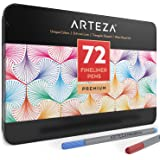 Arteza Fineliner Fine Point Pens, Fine Tip Markers for Coloring, Drawing 72 Assorted Colors (0.4mm Tips, Set of 72)