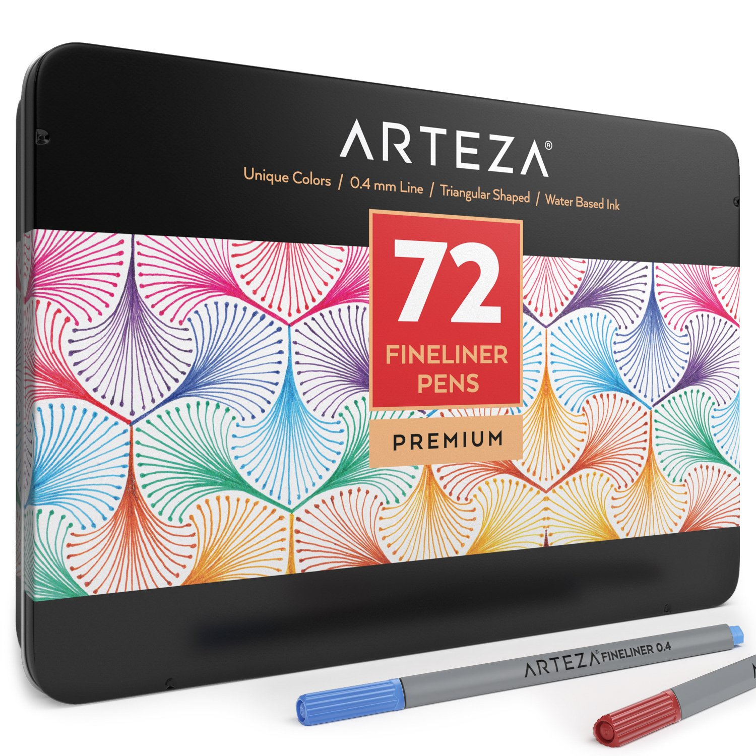 Arteza Fineliners Fine Point Pens, Set of 72 Fine Tip Markers with 0.4mm Tips & Sure Grip Ergonomic Barrels, Brilliant Assorted Colors for Coloring, Drawing & Detailing + Sturdy Metal Storage Case ARTZ-8103
