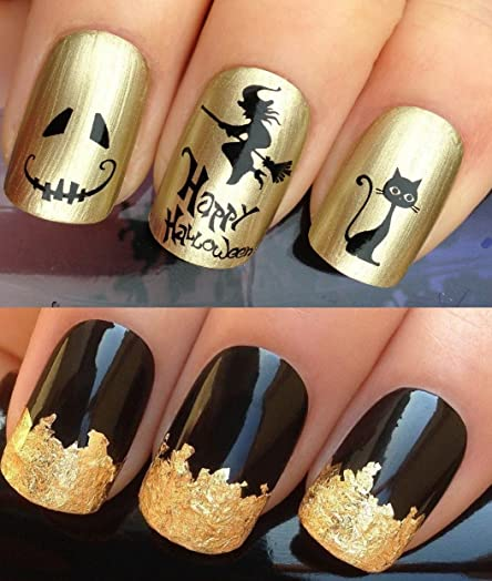 halloween nail decals water transfers stickers art set 485 plus large gold leaf sheet
