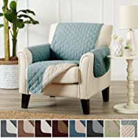Deluxe Reversible Stain Resistant Furniture Protector in Solid Colors. Includes Adjustable Elastic Straps. Charleston Collection by Great Bay Home Brand.