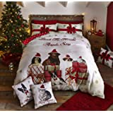 Catherine Lansfield Christmas party Animal - Set copripiumino matrimoniale 220 x 230 cm + 2 federe 50 x 75 cm, 60% cotone 40% poliestere oro, Natale, King