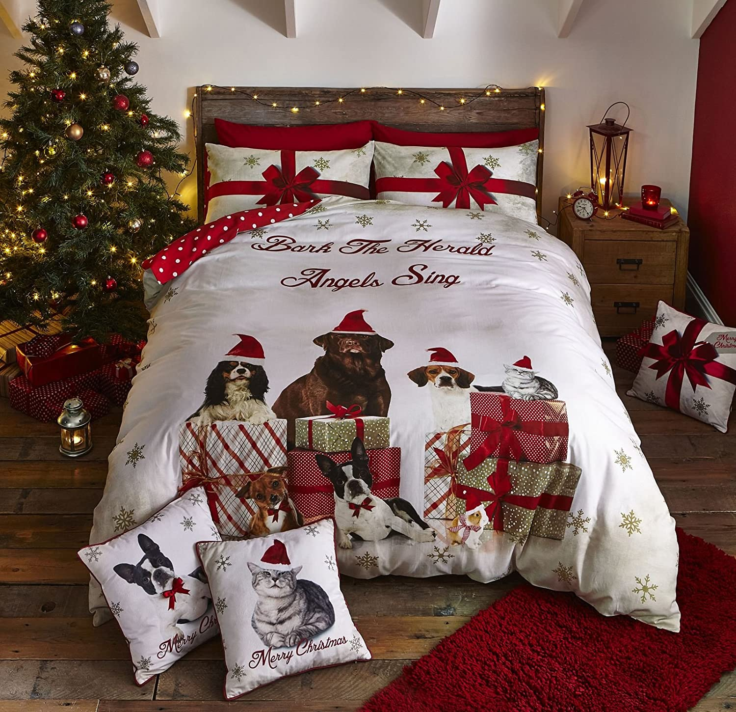 Catherine Lansfield Christmas Party Animals Double Duvet Set Gold Turner Bianca BD/45530/W/DQS/GO
