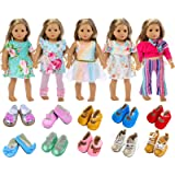 ZITA ELEMENT American 18 Inch Girl Doll Clothes Outfits Lot 7 = 5 Daily Costumes Clothes Dress + 2 Random Style Shoes for 18
