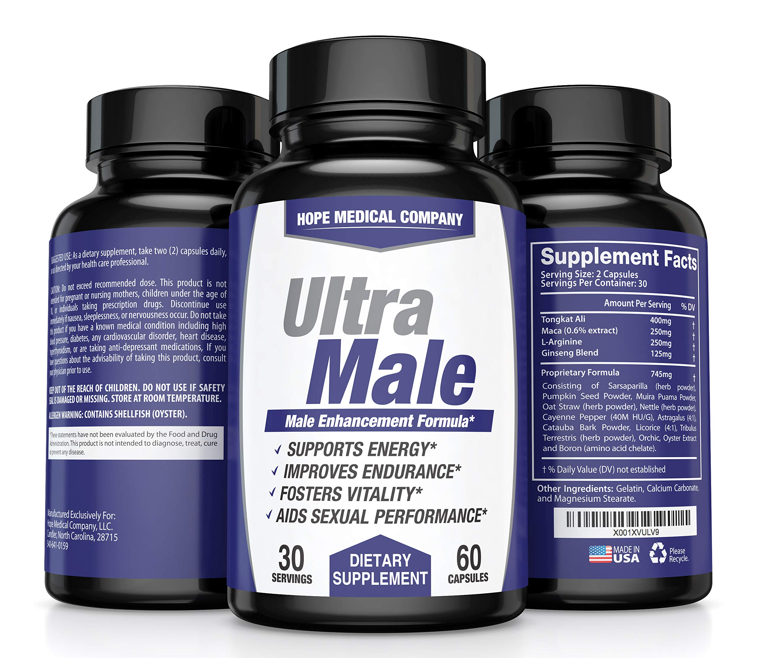 Best Fast-Acting Male Enhancing Pills - #1 Testosterone Booster for Men Increase Size, Drive, Stamina & Endurance - L Arginine, Tongkat, Maca, Ginseng Supplement - Boost Energy, Muscle & Performance by HMC (Image #1)